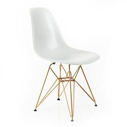 Design Guild Living Banks White Chair with Gold Legs