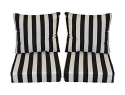 Black and White Stripe Cushions for Patio Outdoor Deep Seating Furniture Loveseat – Choice ...