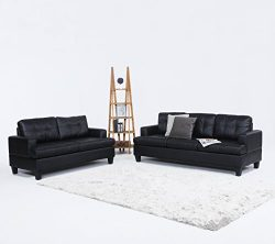 2 Piece Modern Black Bonded Leather Sofa and Love Seat Set