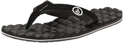 Volcom Men's Recliner Flip Flop, Black/White, 11 M US
