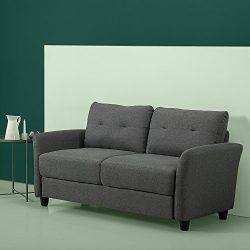 Zinus Contemporary Upholstered Loveseat, Dark Grey