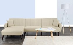 Mid Century Modern Style Linen Fabric Sleeper Futon Sofa, Living Room L Shape Sectional Couch wi ...