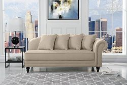 Large Classic Velvet Fabric Living Room Chaise Lounge with Nailhead Trim (Beige)