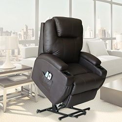 Unionline PU Leather Power Lift Chairs Recliner for Elderly Wall Hugger Heated Vibration+ Wheels ...
