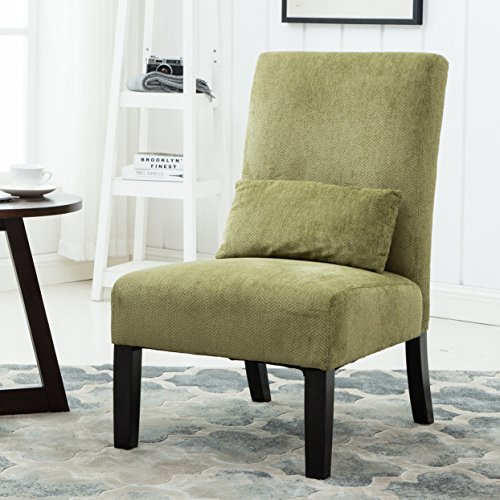 Roundhill Furniture Pisano Spring Green Fabric Armless Contemporary Accent Chair with Kidney Pil ...