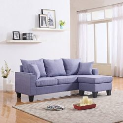 Modern Linen Fabric Small Space Sectional Sofa with Reversible Chaise (Light Grey)