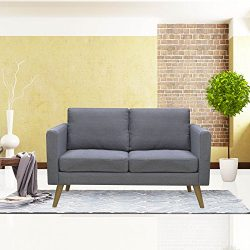 Cloud Mountain Linen Fabric Loveseat Living Room Furniture 2 Seat Sofa with Cushions, Gray