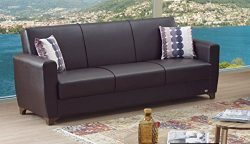 BEYAN Queens Collection Modern Convertible Folding Sofa Bed with Storage Space Includes 2 Pillow ...
