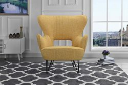 Mid-Century Modern Linen Fabric Accent Armchair with Shelter Style Living Room Chair (Yellow)