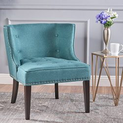 Aria | Occasional Chair | Wing Back | Nail Head Accents | Button Tufted | Corded | Fabric in Dar ...