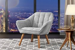Accent Chair for Living Room, Linen Arm Chair with Tufted Detailing and Natural Wooden Legs (Lig ...