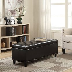 Belleze 48″ Rectangular Faux Leather Storage Ottoman Bench Footrest, Large, Brown