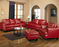 Coaster Home Furnishings Samuel Living Room Set with Sofa , Love Seat , Chair , and Ottoman in R ...