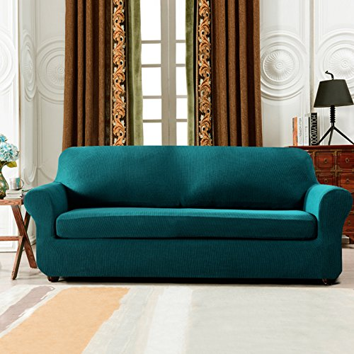 Subrtex 2 Piece Spandex Stretch Sofa Slipcover Loveseat