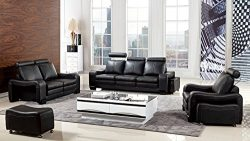 American Eagle Furniture Delaware Collection Modern Living Room Premium Leather 6 Piece Sofa Set ...