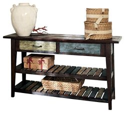 Ashley Furniture Signature Design – Mestler Sofa Table – Rustic Style Entertainment  ...