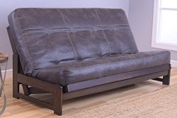 Kodiak Aspen Futon Set with Reclaim Mocha Finish, Palance Steel, Full