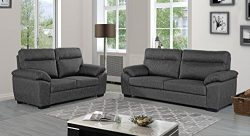 Sofa Set in Fabric 2 Pieces, Linen Couch and Loveseat for Living Room Set of 2 (Light Grey)