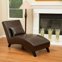 Laguna Brown Leather Curved Chaise Lounge Chair and Pillow