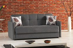 BEYAN Stella Collection Chenille Upholstered Sleeper Sofa with Storage, Solid Wood Frame, and St ...