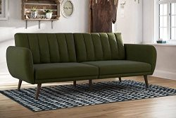 Mid-Century Convertible Sofa Sleeper – Contemporary Upholstered Daybed for Living Room (Green)