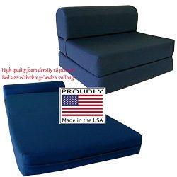 Navy Sleeper Chair Folding Foam Bed Sized 6″ Thick X 32″ Wide X 70″ Long, Stud ...