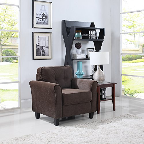 Classic brush microfiber fabric living room accent chair brown gvdesigns gvdesigns for Microfiber accent chairs living room