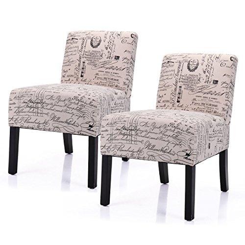 LAZYMOON Leisure Armless Chair Modern Contemporary Upholstered French Script Couch Seat Accent C ...