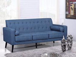 US Pride Furniture S5301-S Donna Fabric Sofa Living Room, Ocean Blue