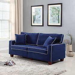 Divano Roma Furniture Collection – Modern Two Tone Velvet Fabric Living Room Love Seat Sof ...