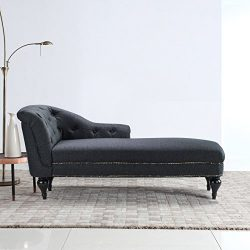 Large Classic Tufted Button Linen Fabric Living Room Chaise Lounge with Nailhead Trim (Dark Grey)