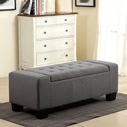Belleze 51″ Rectangular Fabric Tufted Storage Ottoman Bench, Large, Slate Grey