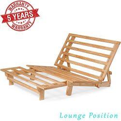 Queen Size Futon Bed Sofa – (Natural Hardwood Frame and Navy Blue Mattress Set), Armless C ...