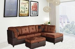 Legend 3 Piece,Brown Color Microfiber and Faux Leather Left-Facing Sectional Sofa Set with Free  ...