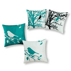 Set of 4, CaliTime Soft Canvas Throw Pillow Covers Cases for Couch Sofa Home Decor, Shadow Bird  ...
