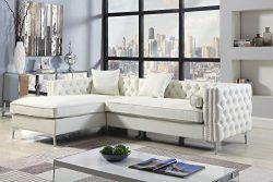 Iconic Home Da Vinci Left Hand Facing Sectional Sofa L Shape Chaise PU Leather Button Tufted wit ...