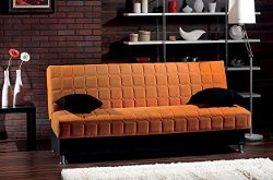 BEYAN Rio Collection Upholstered Chenille Sofa Bed with Storage, Solid Wood Frame, and Steel Inn ...