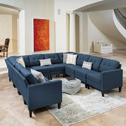 Emma Mid Century Modern 10 Piece Navy Blue Fabric U-Shaped Sectional Sofa