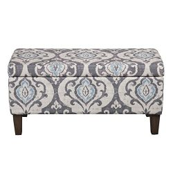 Kinfine Large Upholstered Storage Ottoman Bench with Hinged Lid, Slate Damask