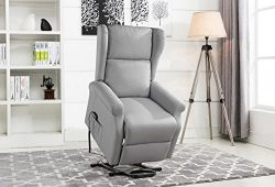 Power Recliner Chair, Lift Chairs, Linen Living Room Reclining Armchair (Light Grey)
