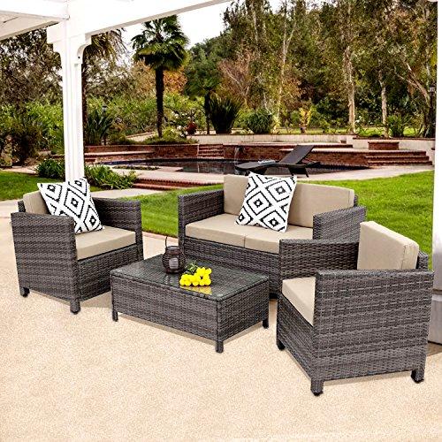 Outdoor Patio Furniture Set,Wisteria Lane 5 Piece Rattan