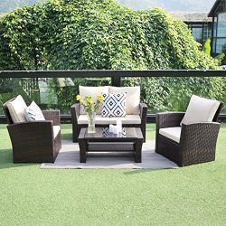 Outdoor Patio Furniture Set,Wisteria Lane 5 Piece Garden Rattan Sofa Wicker sectional Sofa Seat  ...