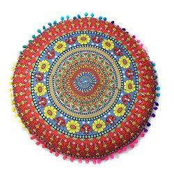 Indian Mandala Floor Pillowcases, Leyorie Colorful Round Bohemian Chair Cushion Pillows Cover Ca ...