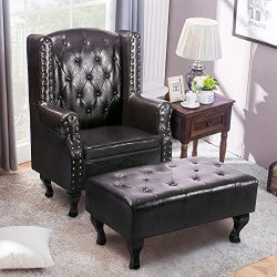 Harper&Bright designs High-Back Armchair Upholstered Living Room Club Chair with PU Leather/ ...