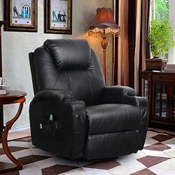 360 Degree Swivel Massage Recliner Leather Sofa Chair Ergonomic Lounge Swivel Heated with Contro ...