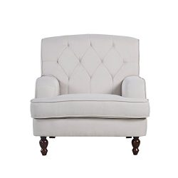 Modern Tufted Fabric Living Room Armchair (Beige)