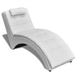 Festnight Chaise Longue Sofa Chair, Soft Sleeper Bed with Pillow Black/ White