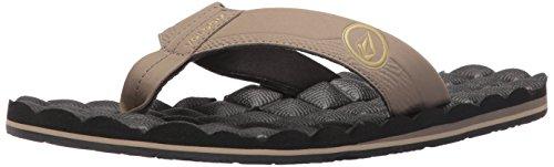 Volcom Men's Recliner Flip Flop Sandal, Khaki, 11 B US
