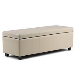 Simpli Home Avalon Rectangular Faux Leather Storage Ottoman Bench, Large, Cream