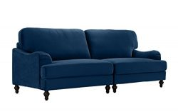 Classic 2 Piece Velvet Convertible Living Room Sofa, Adjustable Couch (Navy)
